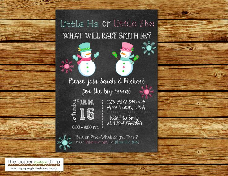 Snowman Theme Gender Reveal Invitation | Winter Gender Reveal Invitation | Pink and Blue Snowmen Gender Reveal Party | Chalkboard by ThePaperGiraffeShop on Etsy