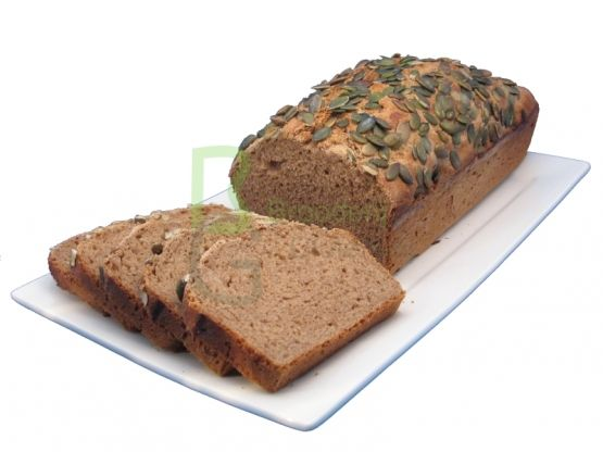 Half brood met Teff meel en pompoenpitten