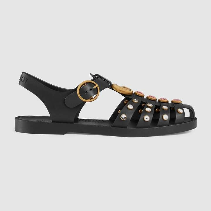 66b1840ce3b Gucci Rubber sandal with crystals