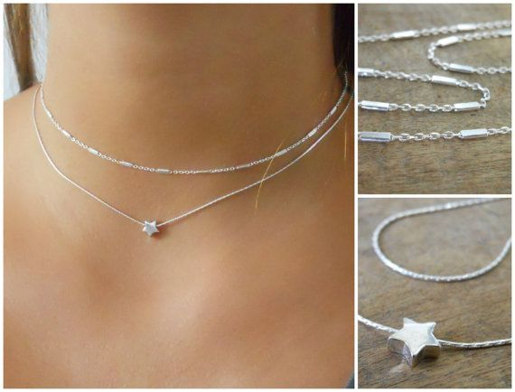 Set Of 2 Sterling Silver Necklaces Silver Necklace by annikabella
