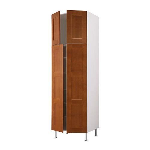 "AKURUM High cabinet with shelves/4 doors - birch effect, Ädel medium brown, 30x88x24 "" - IKEA"
