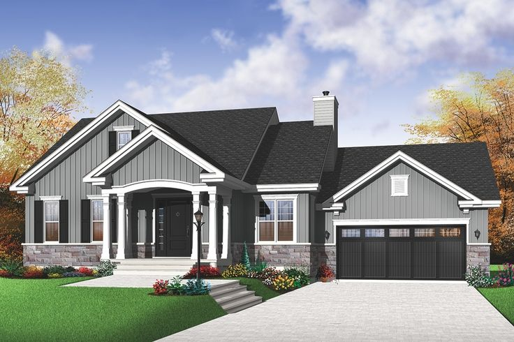 Front Elevation With Garage : Houseplans traditional front elevation plan