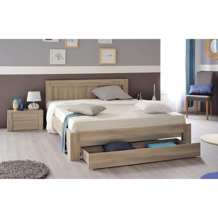 Lit deux personnes avec tiroir de lit AUBERGE port offert