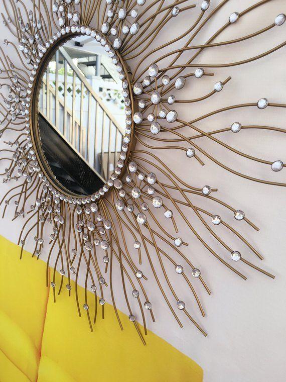 Decorative Starburst Mirror Metal Wall Mirror Wall Hanging Mirror In Sunburst Shape Sunburst Mirror Home Decor Mirrors Sunburst Mirror Decor