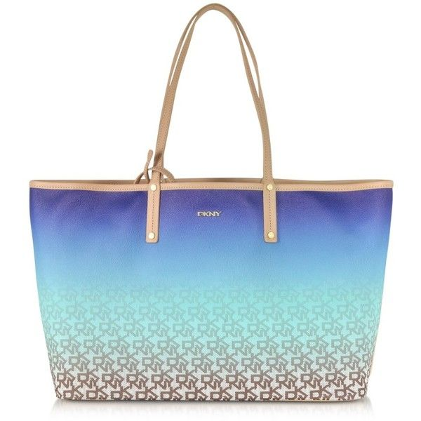 DKNY Handbags Heritage Coated Logo Blue Large Reversible Tote ($145) ❤ liked on Polyvore featuring bags, handbags, tote bags, purses, totes, coated canvas tote, dkny handbags, man bag, dkny tote and blue purse