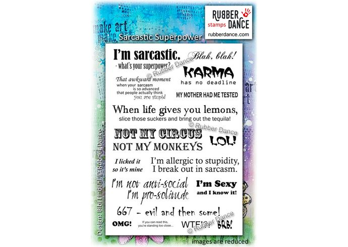 Sarcastic Superpower. Sheet of UN-mounted, red rubber stamps. Rude, cheeky, funny ...