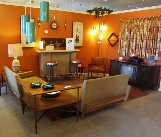 Retro living room -  too dark for me... but love the design elements (decor, interior, furniture, 50's, mcm, midcentury, orange)
