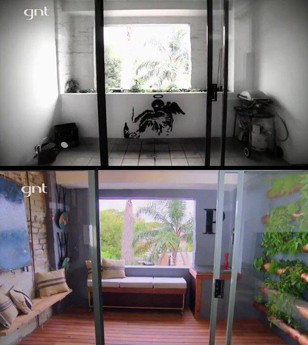 antes e depois, varanda, rea externa, churrasqueira, varanda gourmet, rei da reforma (Foto: Divulgao/GNT)