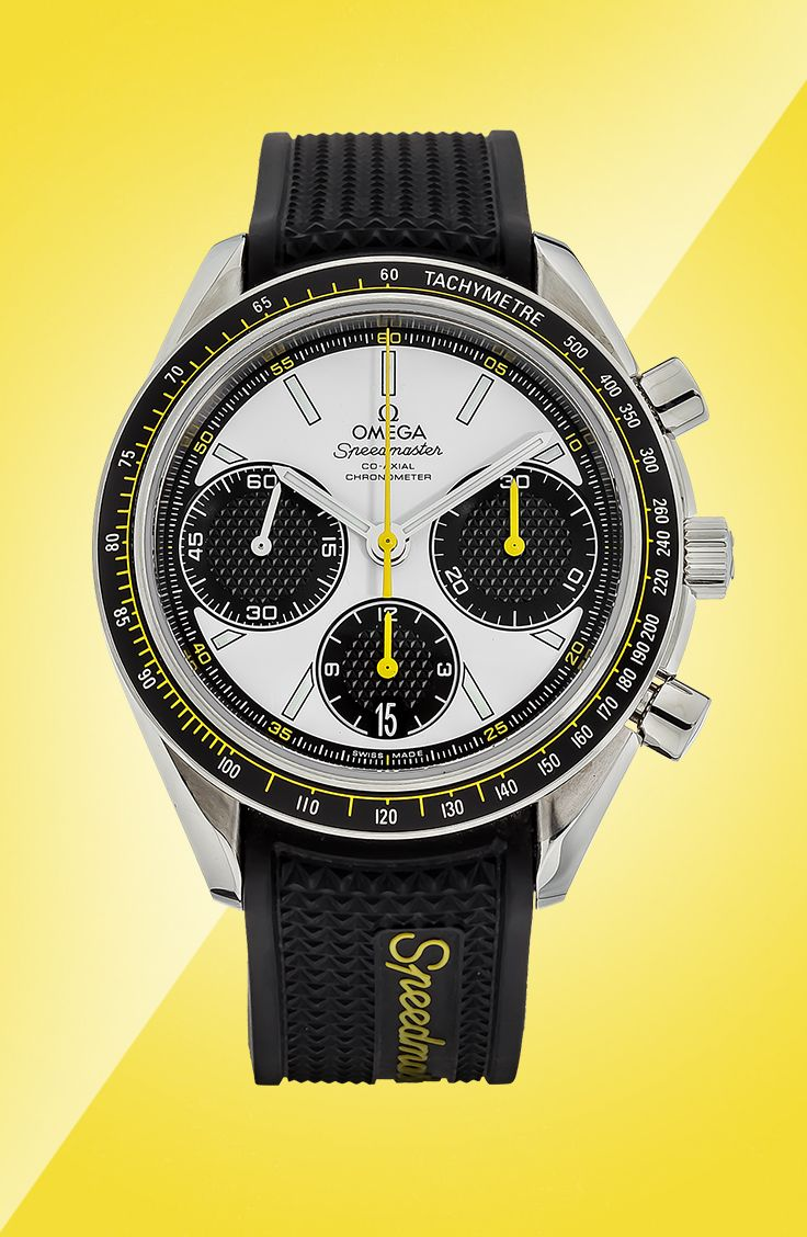 The rubber strap on this Pre-Owned Omega Speedmaster Racing Co-Axial Chronograph is fashioned to look like a tire in honor of the Speedmaster's motorsport heritage