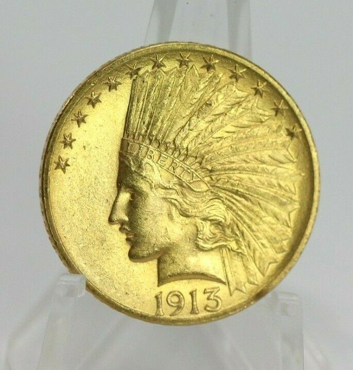 1913 Ten Dollar Indian Head Eagle Gold 10 Coin Low Mintage Excellent Gold Money Gold Coins Coins