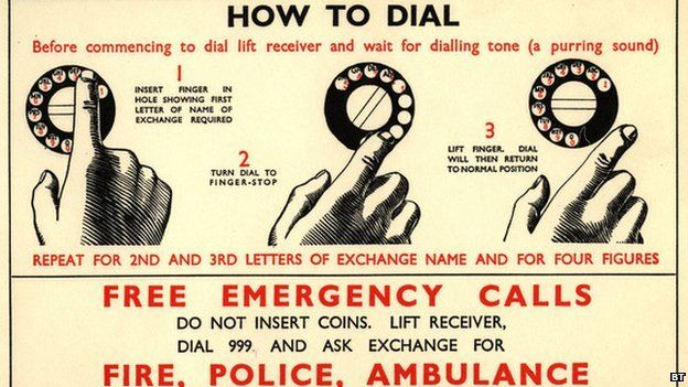 "On 30 June 1937, the capital's new emergency telephone line was unveiled. A notice in the Evening News advised the public how to use it.    ""Only dial 999... if the matter is urgent; if, for instance, the man in the flat next to yours is murdering his wife or you have seen a heavily masked cat burglar peering round the stack pipe of the local bank building."""