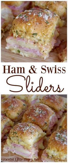 Try these delicious Ham and Swiss Sliders at your next party. They're sure to be a hit! Visit gracefullittlehoneybee.com for the recipe.