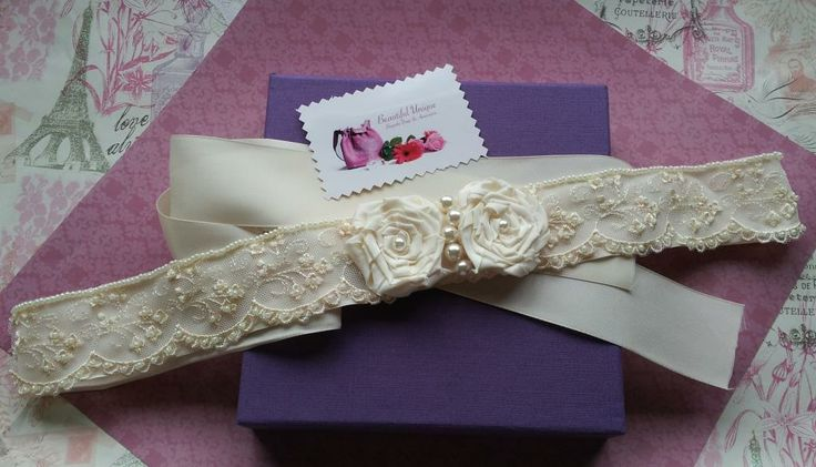 Ivory Rose & lace bridal belt handmade by Beautiful Unique
