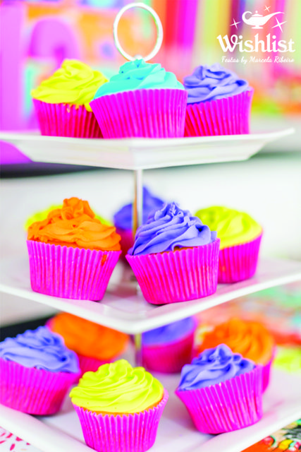Neon Colors Birthday Party cupcakes!   See more party ideas at CatchMyParty.com!