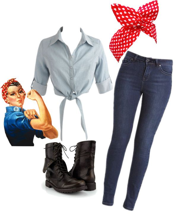 """Rosie the Riveter Interpitation"" by robynlaugh on Polyvore -Would love to be able to pull this off."
