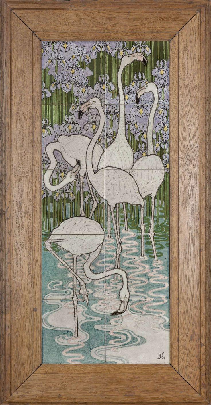 Tegeltableau, beschilderd met flamingo's in een waterlandschap met irissen, Bert Nienhuis (I), ca. 1900