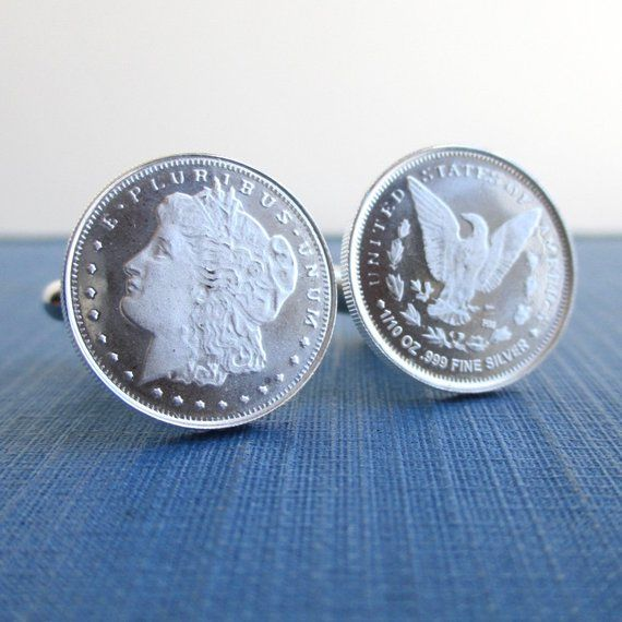 999 Silver Coin Cuff Links Repurposed Morgan Dollar Design 1 10 Oz 999 Sterling Coins Silver Rounds Silver Coins Silver Silver Rounds