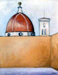 Pittura di Ottone Rosaii - Cupolone con campanile 1957