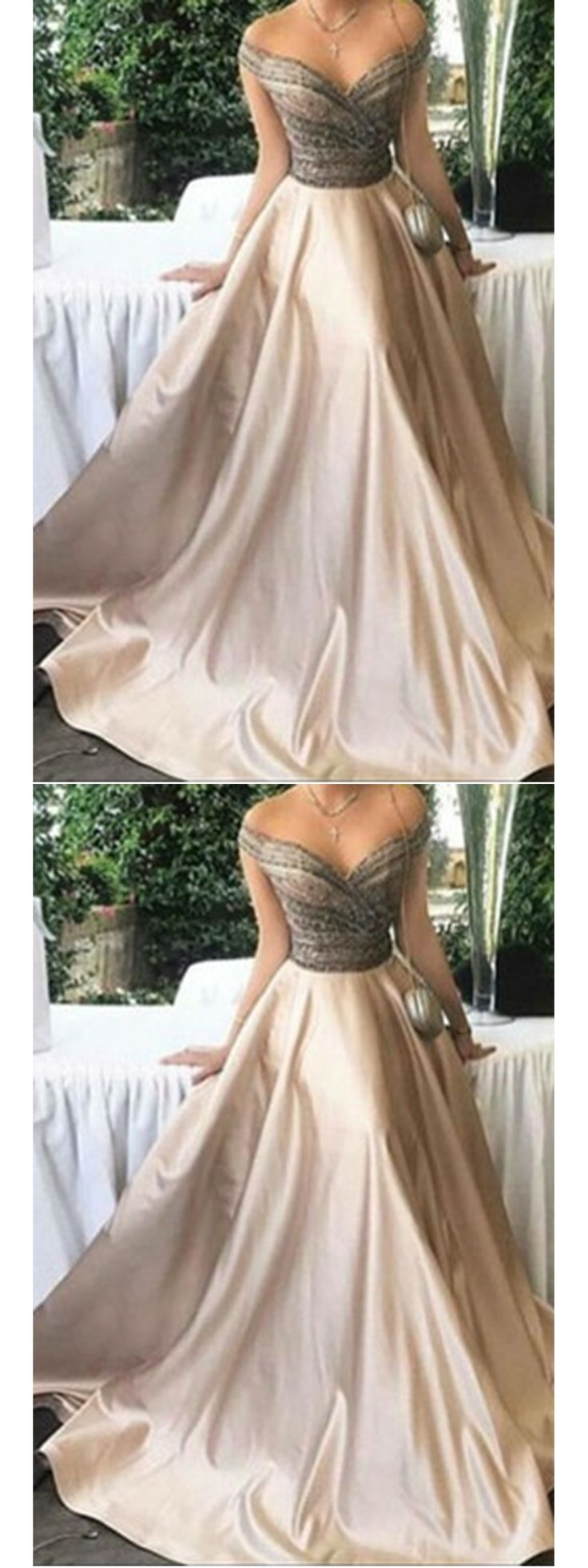 Long Prom Dresses Off-the-shoulder Floor-length Satin Sexy Prom Dress/Evening Dress JKL186