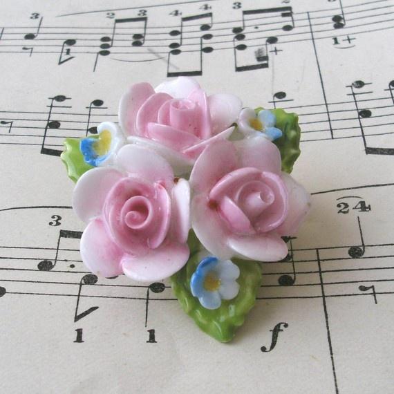 English Coalport Roses Brooch Pin Dainty Pink Porcelain