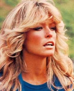 Everything was about disco in the 70′s.  It was so trendy to wear polyester and bell-bottoms.  The main hairstyle for disco queens?  Farrah Fawcett hair.