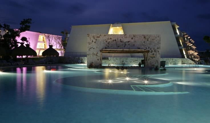 Pool view at night - Grand Sirenis Mayan Beach, Riviera Maya, Mexico
