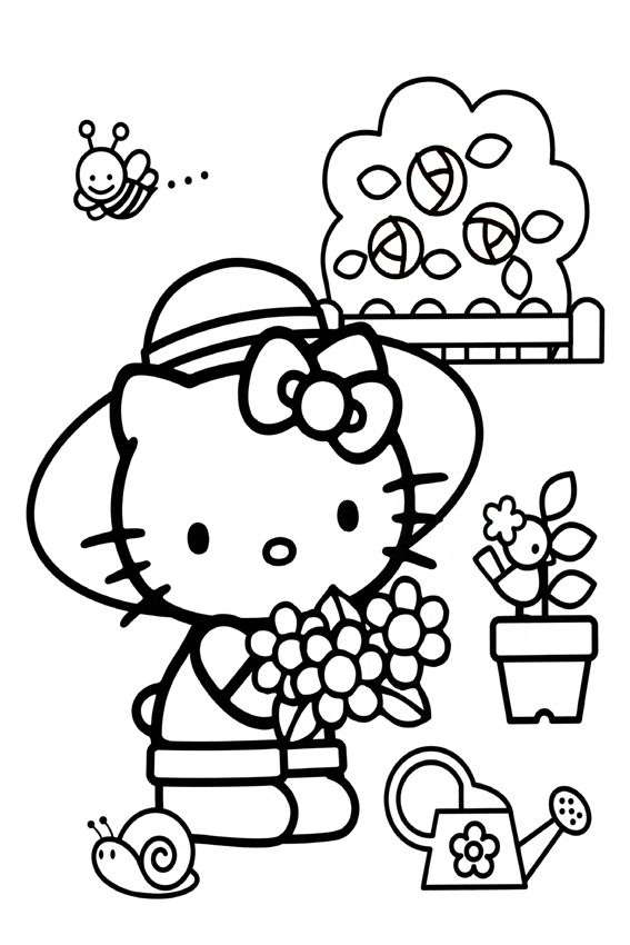 Gardening Hello Kitty Coloring Hello Kitty Colouring Pages Hello Kitty Party