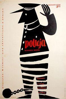 "Theater poster for ""Police"" (1959) by Polish graphic designer & illustrator Zbigniew Kaja (1924-1983). via Pigasus Gallery"