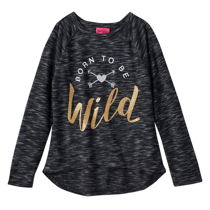 "Girls 4-6x ""Born To Be Wild"" Slubbed Tee, Size: 6X, Grey (Charcoal)"