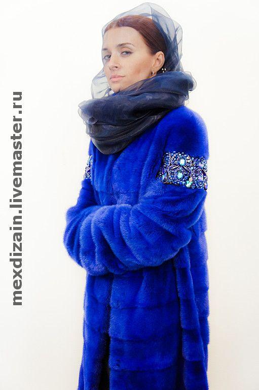 """Купить Пальто """"DEEP BLUE"""" - mexdizain, deep blue, шуба из норки, шуба из крашенного меха"""