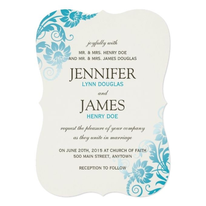 3878 best teal wedding invitations images on pinterest teal blue classy ombre teal wedding invitations stopboris Image collections