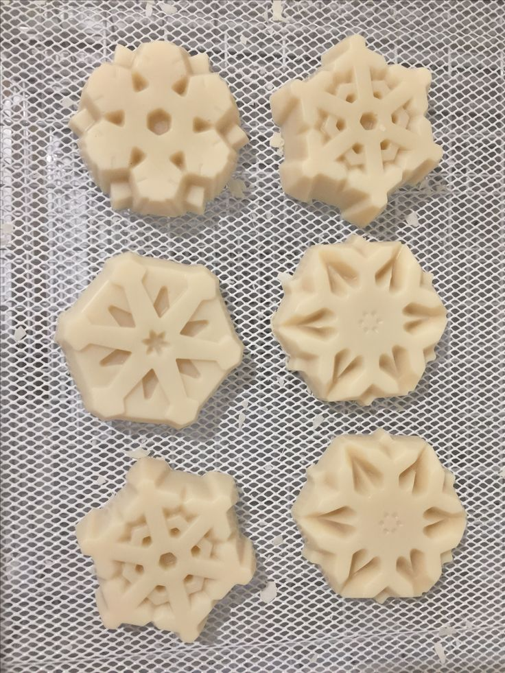 Patchouli natural soaps shaped like snowflakes. Ready for my Christmas collection.