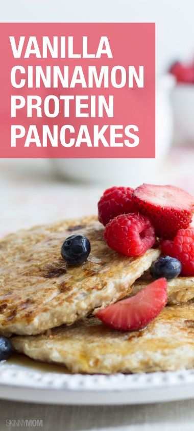 Start your morning off right with these delicious vanilla cinnamon protein pancakes