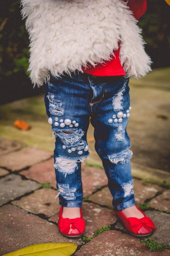 Skinny Jeans Black Red Jeans Gift for Baby Girl Baby Shower Gift Distressed Jeans Christmas Gift Sequin Jeans
