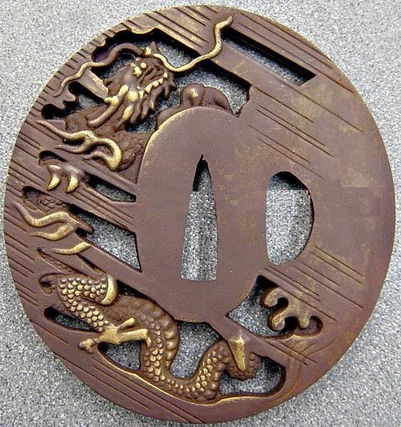 Ryumon Japanese Sword Dragon Tsuba