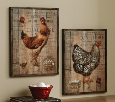 Set of 2 Country Rustic Rooster Wooden Wall Picture Kitchen Decor