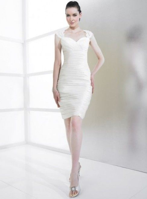 SOPHIA - Short Sweetheart Sheath Cheap Chiffon Wedding dress