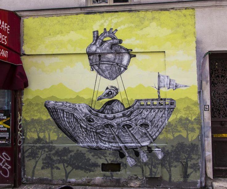 Le street art fantasmagorique inspiré des gravures d'anciennes encyclopédies par Alexis Diaz   Buzzly