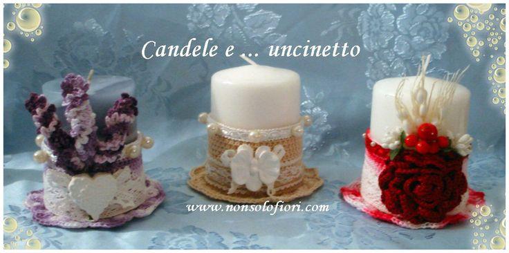 Candele ornate con fiori all'uncinetto e non solo ... #centrotavola #uncinetto #candela #crochet #centerpiece #lavanda #shabby #rosa #bacche