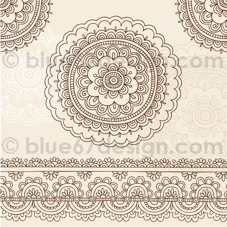 Intricate Henna Tattoo Doodle Flower Mandala and Edge Designs by Blue67Design by blue67design, via Flickr