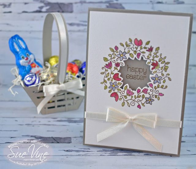 handmade Easter card by Sue Vine ... at MissPinksCraftSpot ... Circle of Spring stamped wreath with ceter die cut out show sentiment on base  card front ... luv the clean and simple layout ... perfect double bow ... Stampin' Up!