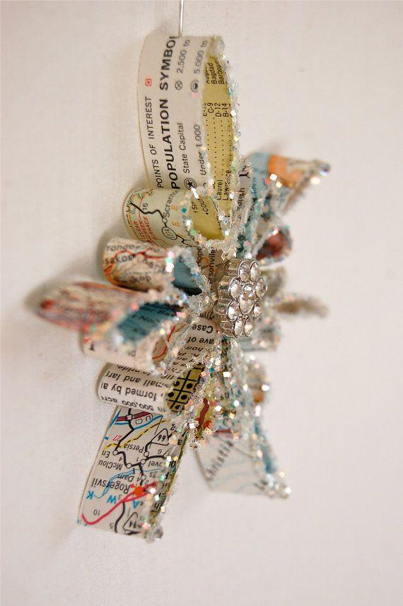 Vintage Map Snowflake Ornament by JenniferAllison on Etsy