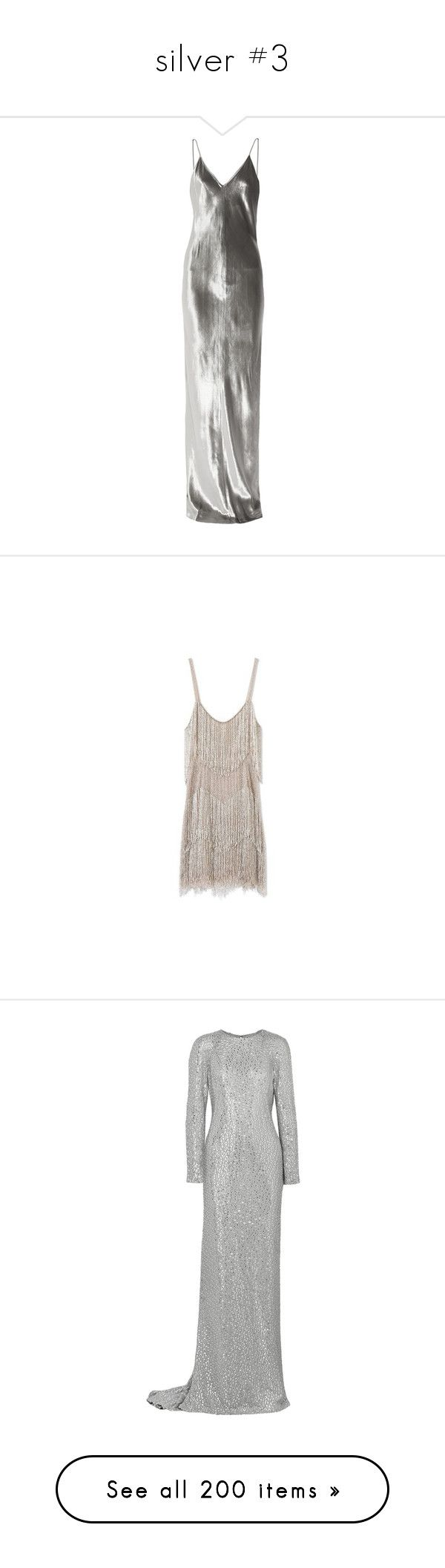"""silver #3"" by daisyclover ❤ liked on Polyvore featuring dresses, gowns, long dress, alexander wang, fitted dresses, fitted gowns, t by alexander wang dress, velvet evening gown, velvet evening dresses and sparkly cocktail dresses"