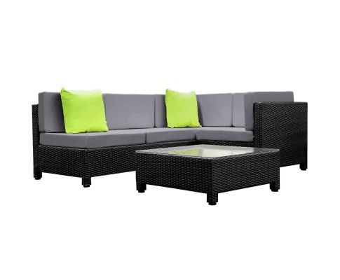 Made of heavy duty aluminium frame and UV resistant PE wicker, together with amazing designs, you just won't be disappointed with the quality. The set comes with plush cushions padded in high density foam and weatherproof covers.   http://www.rosaelonline.com.au/product/5-pcs-black-wicker-rattan-4-seater-outdoor-furniture-lounge-set-grey/
