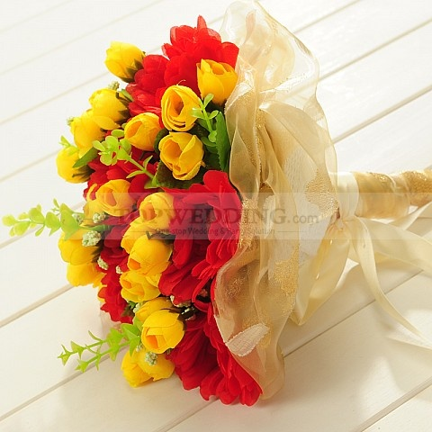 Sheen Organza Wrapped Yellow Tulip and Red Chrysanthemum Wedding Bouquet