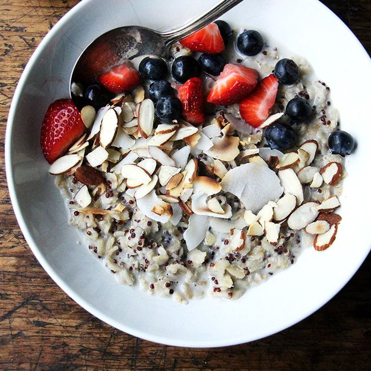 Quinoa and Oat Breakfast Porridge (almond milk is spiced with cardamon and bay leaf)