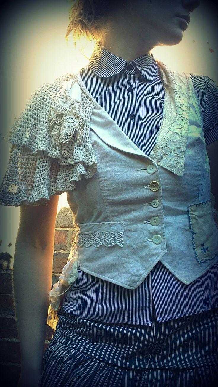 recycled fashion-ethical design-vintage fabrics-bohemian clothing - Waistcoat/Jackets