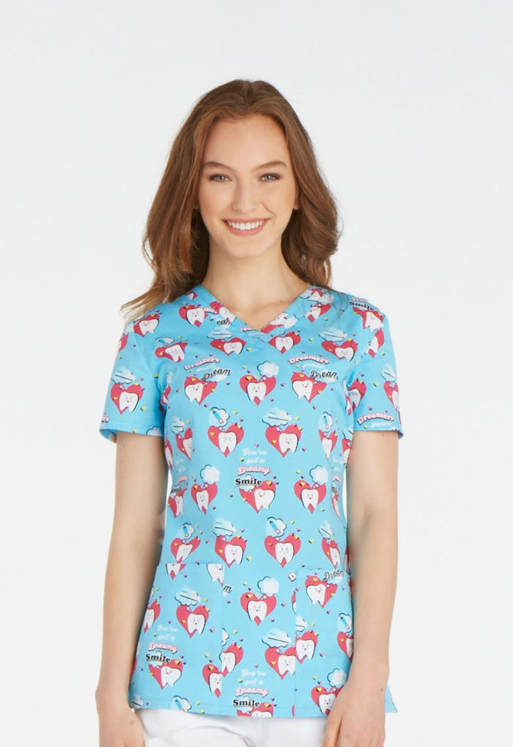 """Dreamers Gonna Dream"" in this Dickies scrub top for dentists and dental hygienists and assistants! 