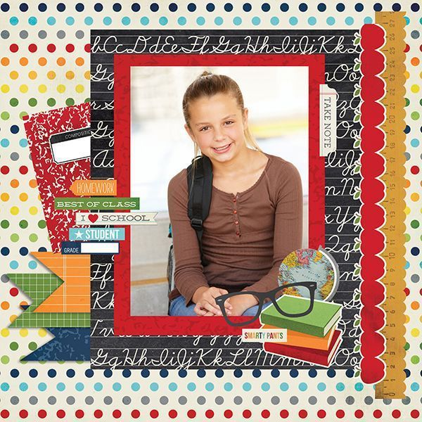 Single Photo BAck to School Scrapbook Layout 3