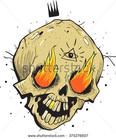 Ручной обращается эскиз череп.  Мультфильм иллюстрации.  Сжигание глазного яблока.  стиль татуировки.